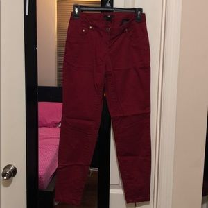 H&M red pant with zipper ankle